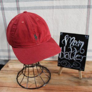 Ralph Lauren Polo Red Hat with Emroidered Horse